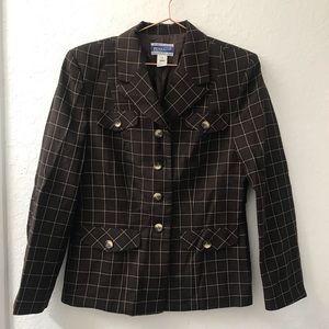 Pendleton 100% Wool Brown Plaid Blazer